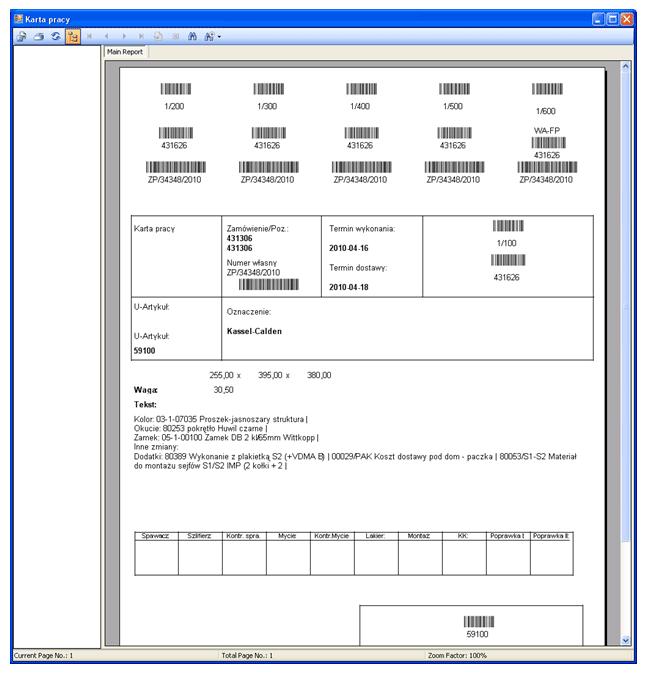 Karta pracy - System zarządzania produkcją